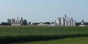 Byron, Nebraska - Grain bins in Byron, seen from the south