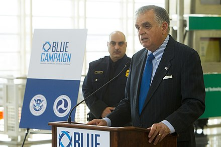 The Blue Campaign collaborates with law enforcement, government, non-governmental, and private organizations to end human trafficking and protect victims. CBP, DOT, AND MAJOR AIRLINES TO ANNOUNCE IMPLEMENTATION OF PARTNERSHIPS TO COMBAT HUMAN TRAFFICKING (8970602236).jpg