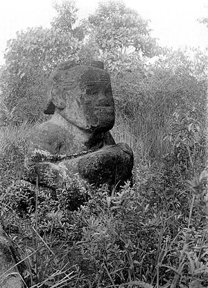 Lahat Regency - Megalithic statue located on the way from Pulauping village to Tinggihari village (photo taken in 1933)