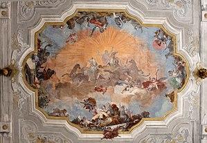 Ca 'rezzonico, salone da ballo, dörtlü di pietro visconti e affreschi di gb crosato (caduta di febo e 4 continenti), 1753, 02.jpg