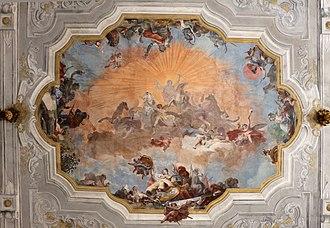 Rococo - Image: Ca' rezzonico, salone da ballo, quadrature di pietro visconti e affreschi di g.b. crosato (caduta di febo e 4 continenti), 1753, 02