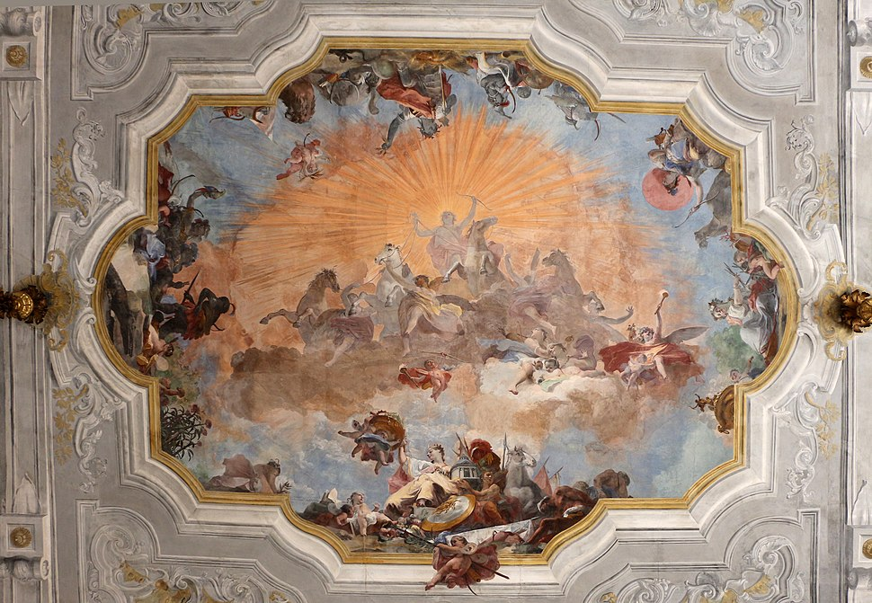 Ca' rezzonico, salone da ballo, quadrature di pietro visconti e affreschi di g.b. crosato (caduta di febo e 4 continenti), 1753, 02