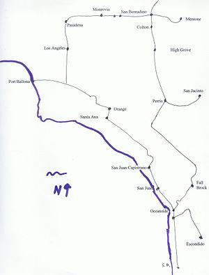 California Central Railway - Image: California Central Railway map