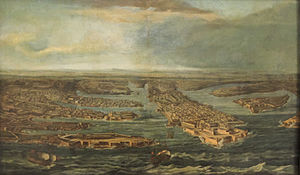 "Giovanni Paolo Lascaris - Giuseppe Caloriti's View of Valletta and the Three Cities with the galleon ""Lascara"" (named in honour of Lascaris) entering the harbour of Malta's capital, Valletta."