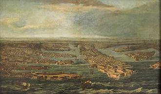 """Giovanni Paolo Lascaris - Giuseppe Caloriti's View of Valletta and the Three Cities with the galleon """"Lascara"""" (named in honour of Lascaris) entering the harbour of Malta's capital, Valletta."""