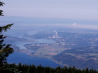 Camas, Washington - Aerial view of Camas, on the north side of the Columbia River