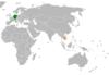 Lage von Deutschland und Kambodscha