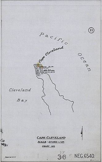 Cape Cleveland Light - 1927 plans showing the cape and the lighthouse position