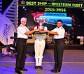 Captain K Swaminathan, Commanding Officer INS Vikramaditya receiving the coveted 'Best Ship of the Western Fleet' trophy.jpg