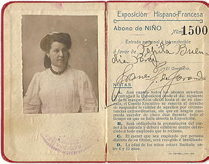 Hispano-French Exposition of 1908 - A ticket from the exposition.