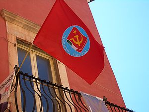 Party of Italian Communists - PdCI flag flown in Carrara (2007)