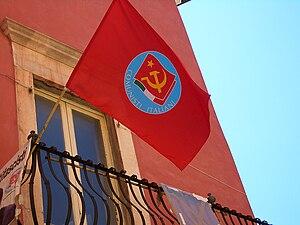 Party of Italian Communists - PdCI flag flown in Carrara (2007)