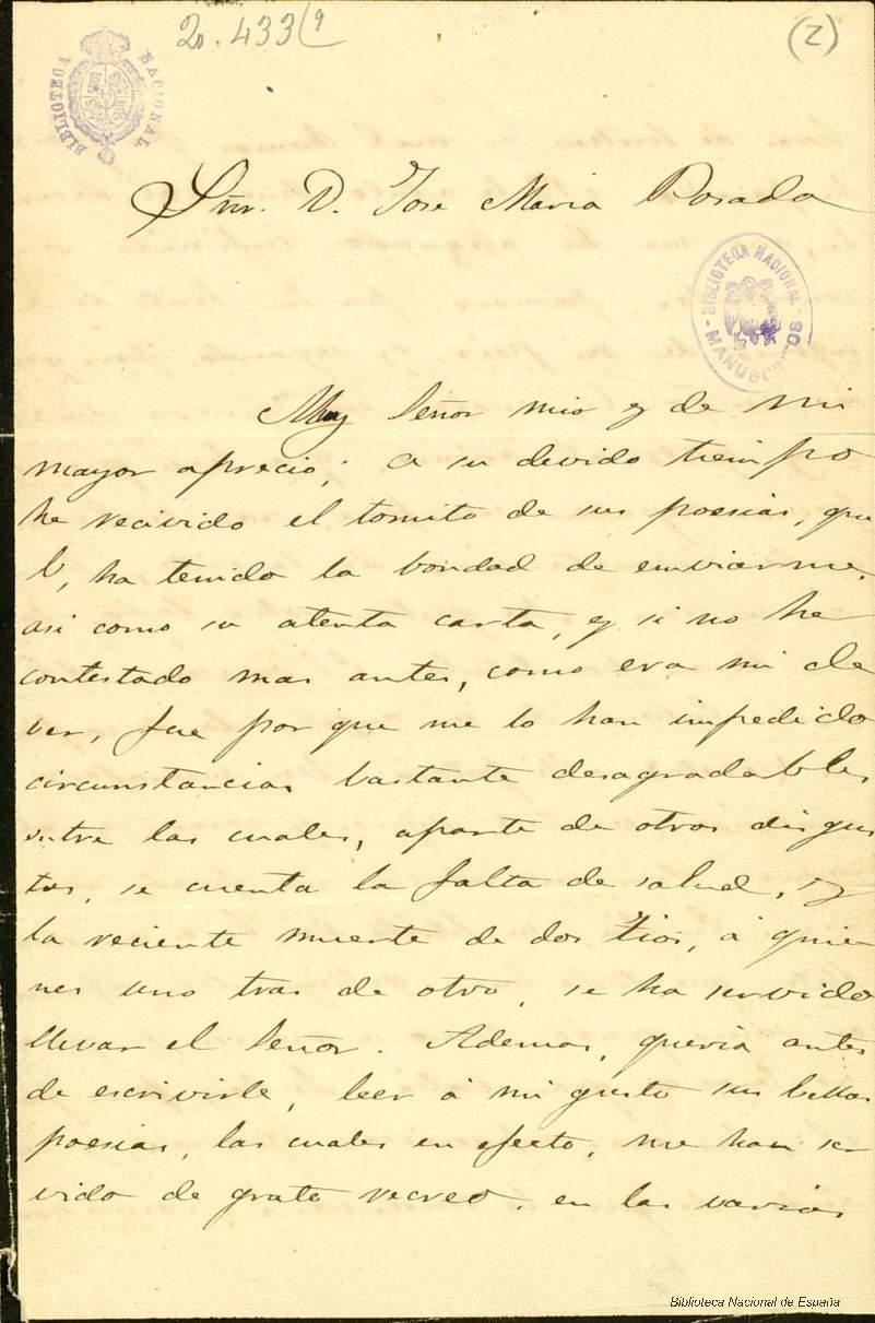 A José María Posada, 1868.