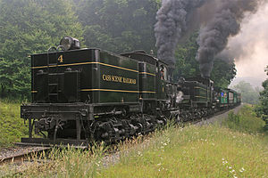 Cass Scenic Railroad State Park - Image: Cass Scenic Railroad State Park Shay 4 and Shay 11