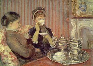 Mary Cassatt's painting of two ladies drinking...