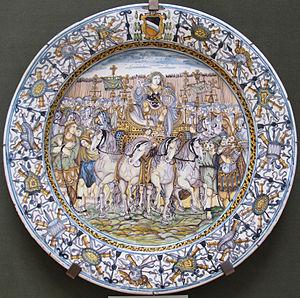 Francesco Grue - maiolica plate by Francesco Grue, Lindenau-Museum, 1645