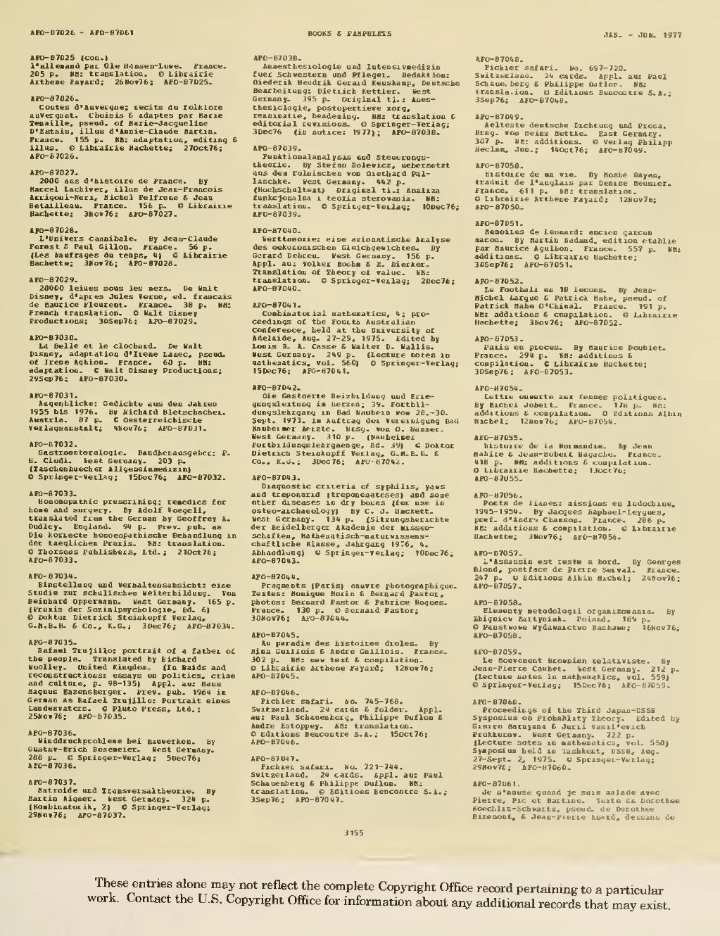 Pagecatalog Of Copyright Entries 1977 Books And Pamphlets