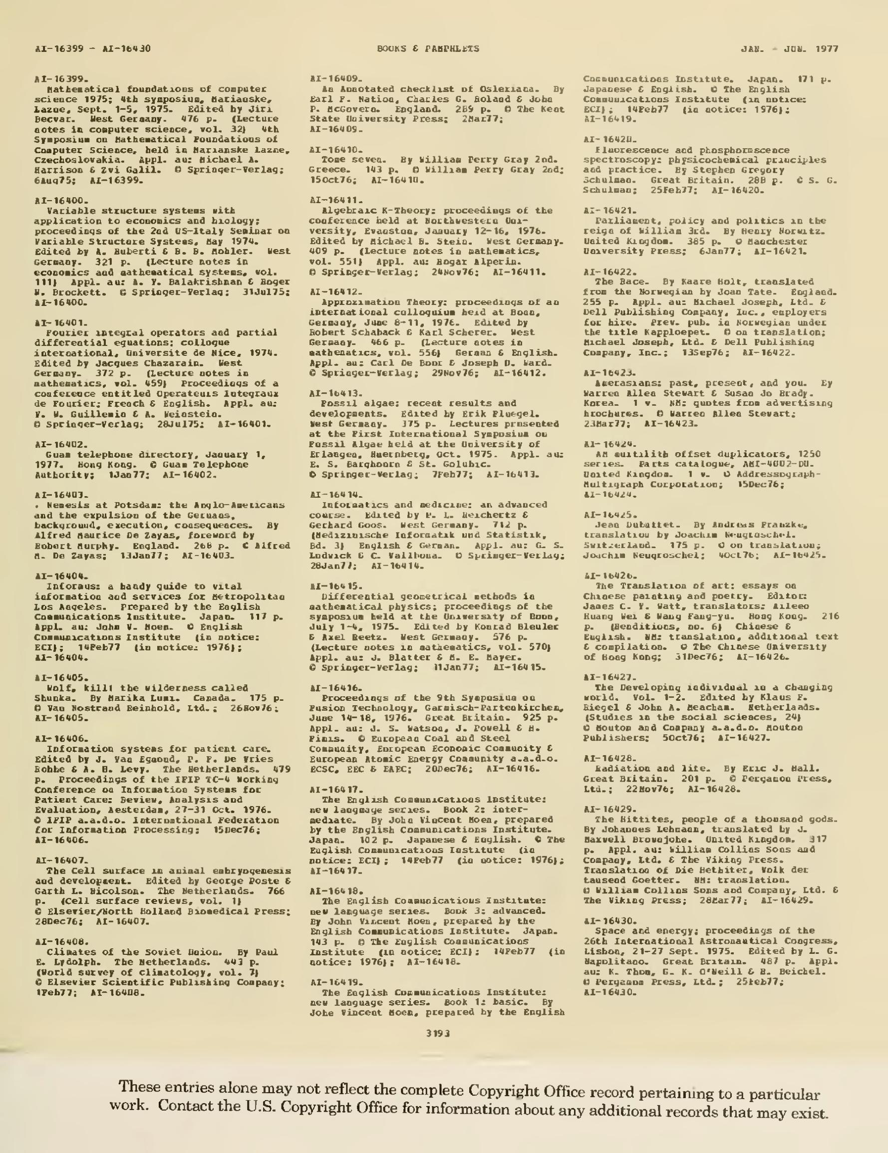 Page:Catalog of Copyright Entries 1977 Books and Pamphlets