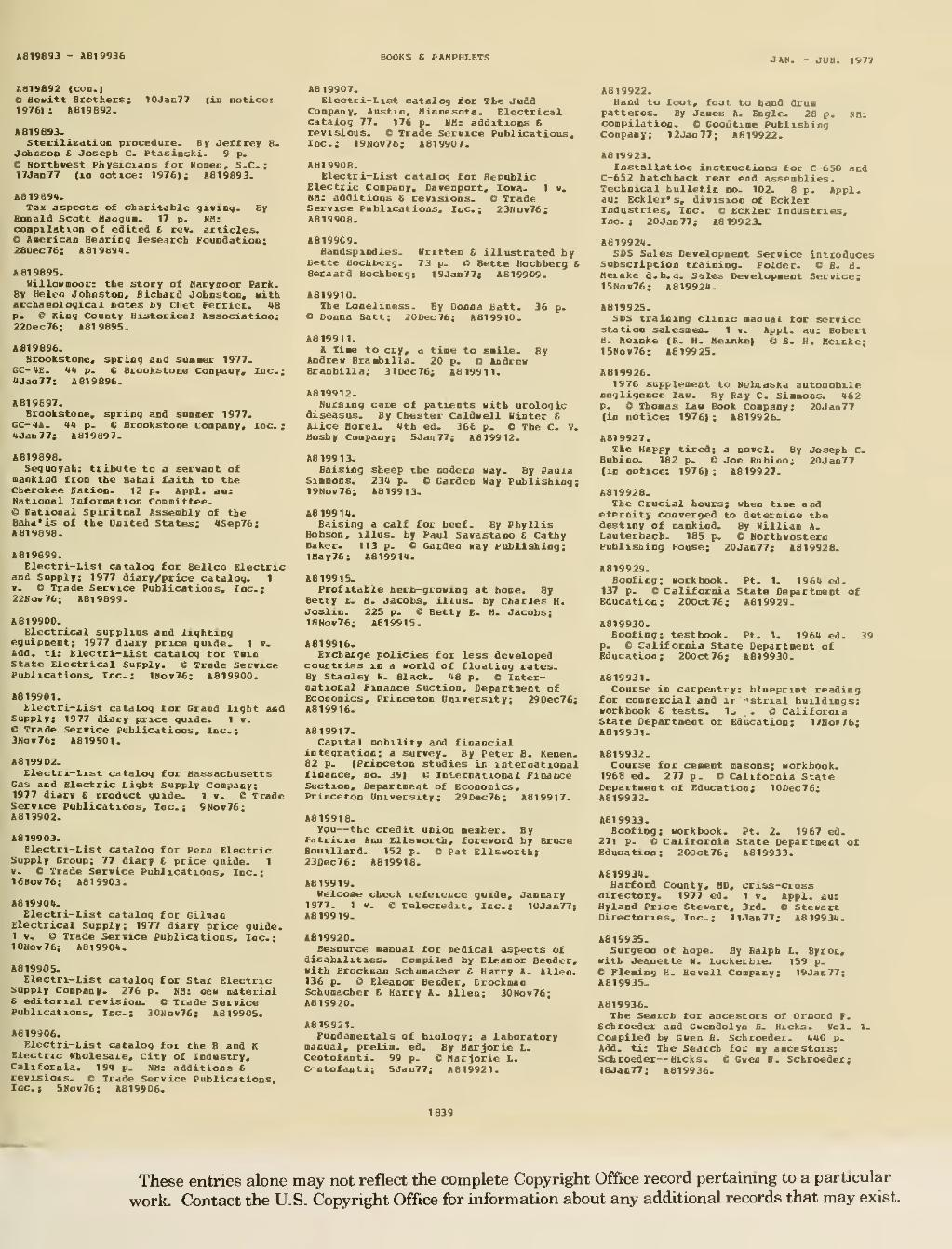 Page:Catalog of Copyright Entries 1977 Books and Pamphlets Jan-June