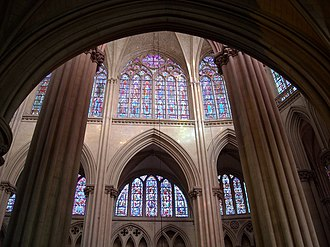 Le Mans Cathedral - View of the north elevation of the choir from the south aisle, showing the triforium and clerestory windows