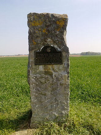 G Parachute Battery (Mercer's Troop) Royal Horse Artillery - Memorial stone marking the position where Mercer's troop fought French cavalry on the Waterloo battlefield.