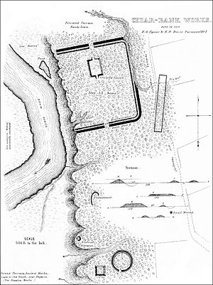 Cedar-Bank Works - A survey map of the site in 1846, by Squier and Davis and featured in Ancient Monuments of the Mississippi Valley