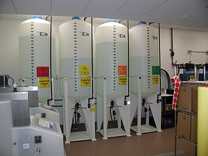 A hemodialysis unit's dialysate solution tanks