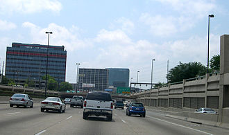 Central Expressway (Dallas) - Central Expressway near Southern Methodist University and Mockingbird Lane