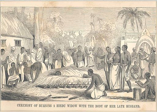 Ceremony of burning the body of a Hindu widow with the body of her late husband