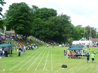 Ceres, Fife - The Bow Butts shortly before the start of the Ceres Highland Games in 2013
