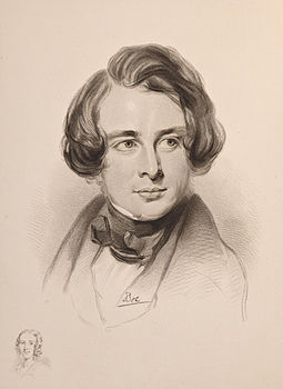 Sketch of Dickens in 1842 during his first American tour. Sketch of Dickens's sister Fanny, bottom left Charles Dickens sketch 1842.jpg
