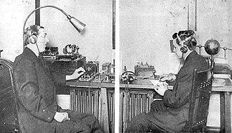 Charles Herrold - Charles Herrold and assistant Ray Newby (circa 1910)