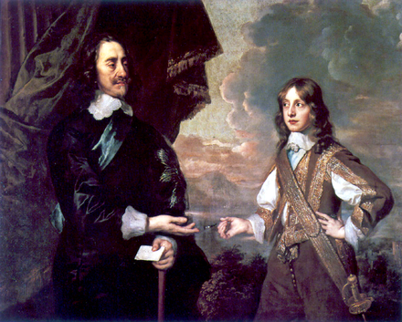 Charles I of England and his son, the future James II of England, from the House of Stuart. Charles I and James II.png