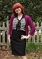 Checkerboard Print Top with a Purple Cardigan and Pencil Skirt (17472741149).jpg