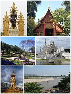 Clockwise from top: King Mangrai Monument, Wat Phra Kaew of Chiang Rai, Wat Rong Khun, Golden Triangle Border in Chiang Saen, Chiang Rai City Clocktower, Doi Tung Royal Villa