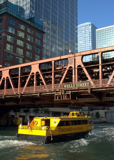 Chicagowatertaxiunderbridge