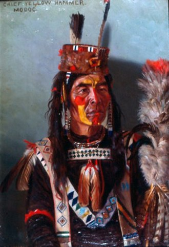 Modoc people - Chief Yellow Hammer painted in traditional clothing by E.A Burbank, 1901.