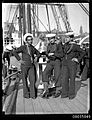 Chilean sailors posing on the deck of GENERAL BAQUEDANO, July 1931 (7150368175).jpg