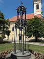 Chime (Kornél Baliga, 1992) at back the Saints Peter and Paul church. Listed 371. - 168, Lajos Street, Budapest District III., Hungary.JPG