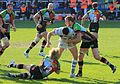 Chris Robshaw and Matt Hopper tackling Fergus Mulchrone (13507984943).jpg