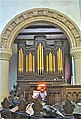 Christ Church, Welshpool. Terracotta arch with organ by Gray of 1815.jpg