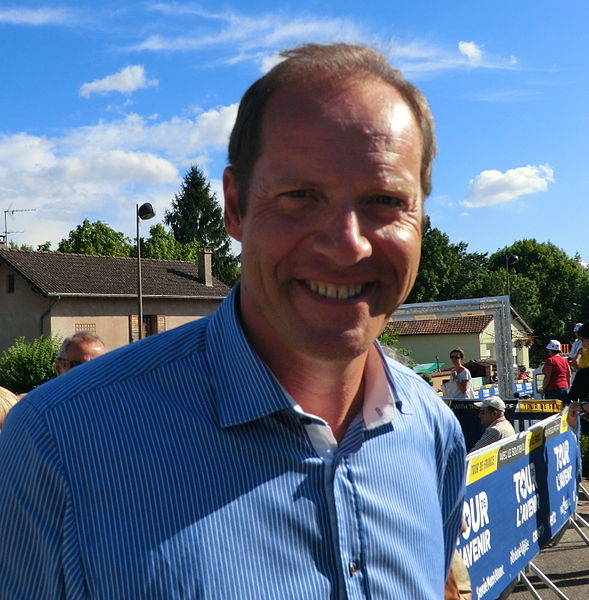 Christian Prudhomme at Saint-Vulbas for attending to the second stage of Tour de l'Avenir 2013.