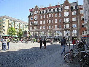 Christianshavns Torv - The east side of the square with the old telephone kiosk
