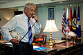 Chuck Hagel talks to US goalkeeper Tim Howard.jpg