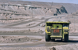 The Amazing Race 11 - The Detour in Chile took place at Chuquicamata copper mine. One task involved a dump truck similar to the one pictured.