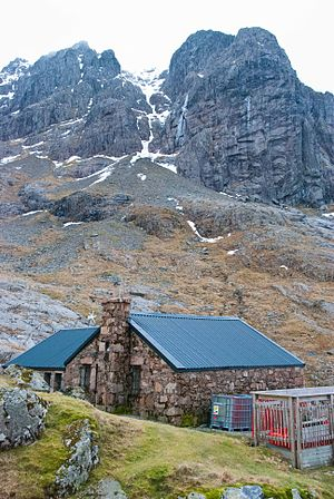 Ben Nevis - Charles Inglis Clark Memorial Hut with the Carn Dearg Buttress behind