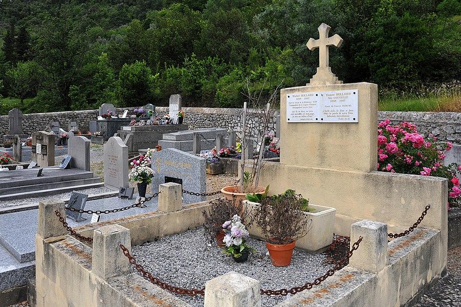 Cemetery of Gorniès; Hérault, France. Grave of Michel and Yvonne Hollard.