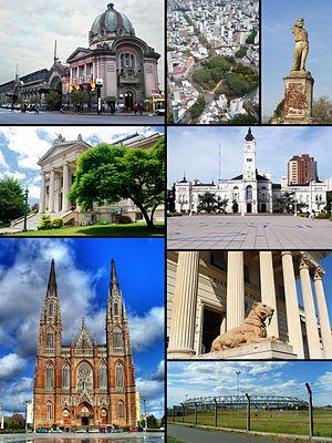 La Plata - From top left: Estación del Ferrocarril Roca • High view of Plaza Dardo Rocha • Garibaldi's statue • Legislatura Provincia de Buenos Aires • Palacio Municipal • Catedral • Museo de Ciencias Naturales • Estadio Ciudad de La Plata.