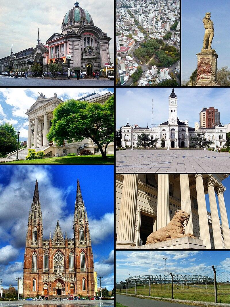 From top left: Estación del Ferrocarril Roca • High view of Plaza Dardo Rocha • Garibaldi's statue • Legislatura Provincia de Buenos Aires • Palacio Municipal • Catedral • Museo de Ciencias Naturales • Estadio Ciudad de La Plata.