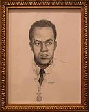 Framed sketch of African-American man with medal of honor